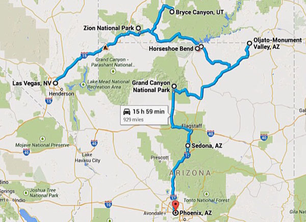 map_arizona_trip